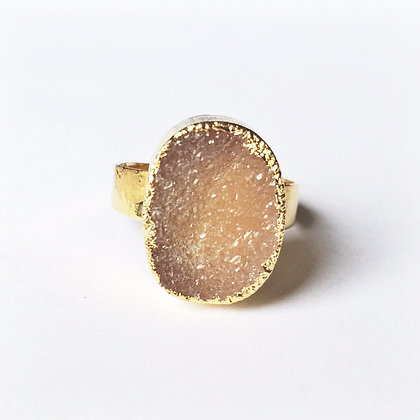 Natural Oval Agate Druzy Gold Ring - Adjustable