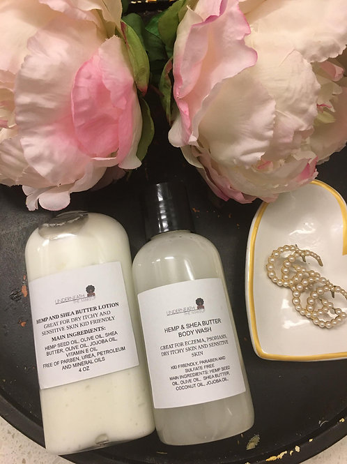 Hemp Seed Oil and Shea Butter Body Wash & Lotion Set