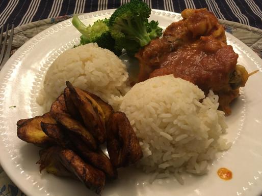 Stewed Chicken w/Plaintain, Rice & Broccoli