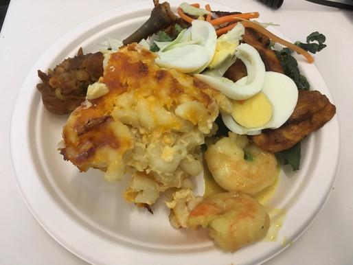 Four Cheese Mac w/Curry Shrimp & Nigerian Salad