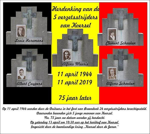 Herdenking van de vijf verzetsstrijders