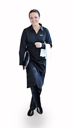 Waitress in black uniform
