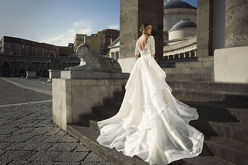 Julie Vino dramatic wedding train