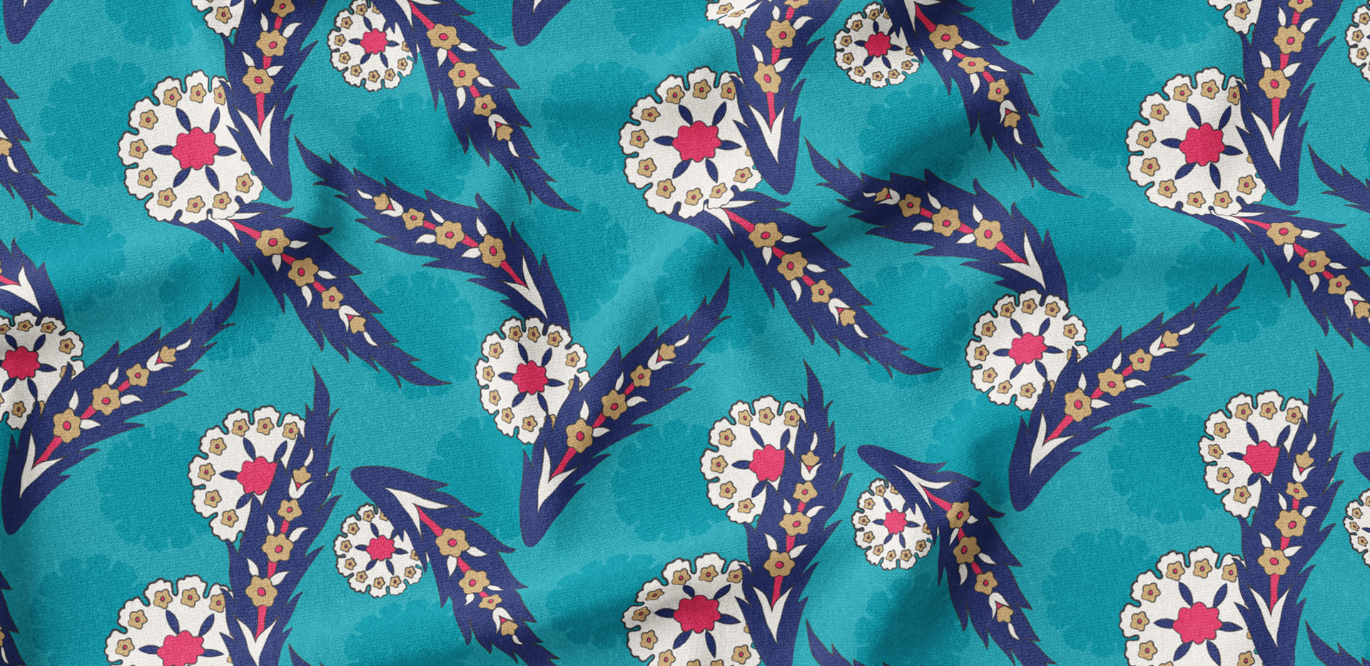 Leaves & Blossoms - Turquoise
