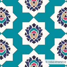 Botanical Maze - Turquoise (Large)