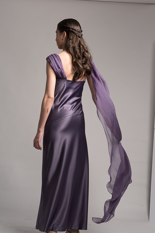 Draped bias-cut silk gown