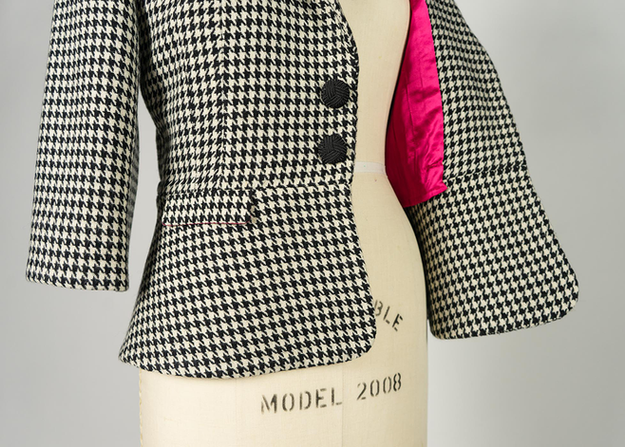 Wool houndstooth peplum blazer