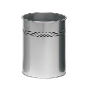 Durable (15 Litre) Metal Round Waste Basket with 30mm Perforation Ring (Silver)