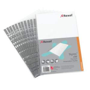 Rexel Nyrex (A4) Premium Presentation Top Opening Pockets (Clear)