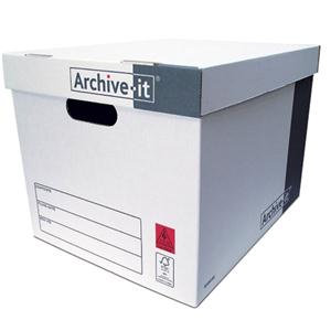 Connect Archive-it Economy Storage Box 384x317x287mm White/Grey