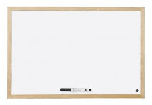 Bi-Office Drywipe Whiteboard Wood Frame 900mm X 600mm
