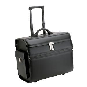 Alassio Mondo Leather-Look Trolley Pilot Case with Laptop Compartment (Black)