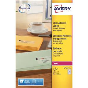 Avery Mini Laser Labels Clear (Various Sizes and Pack Sizes)
