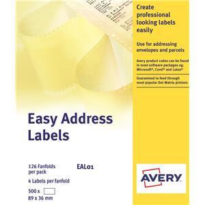 Avery EAL01 Dot Matrix Labels Easy Address Labels (89 x 37mm) White