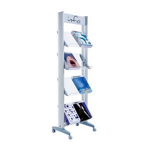 Fast Paper Mobile Display with Plexiglass Shelves Aluminium Grey DD