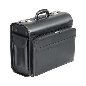 Alassio San Remo Multi-section Leather-look Trolley Pilot Case (Black)