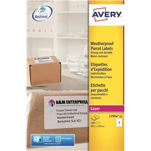 Avery Weatherproof Shipping Labels Laser 4 per Sheet (Various Sizes and Packs)