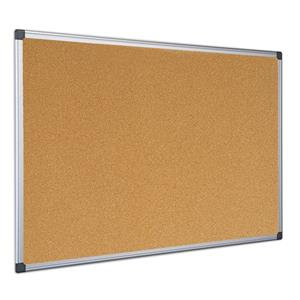 Bi-Office Maya 600 x 450mm Cork Notice Board Aluminium Frame Brown