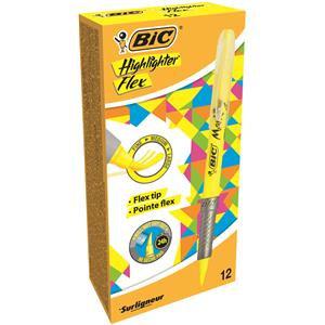 Bic Marking Highlighter Flex Brush Tip Pen Fine/Medium/Large Yellow
