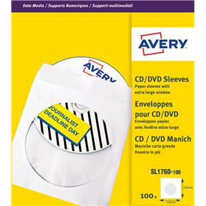 Avery (126 x 126mm) CD/DVD Paper Sleeves (White)
