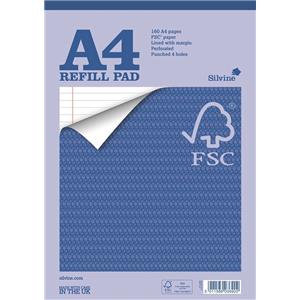 Silvine A4 Refill Pad FSC Paper Feint Headbound 80 Sheet Ruled Margin 4