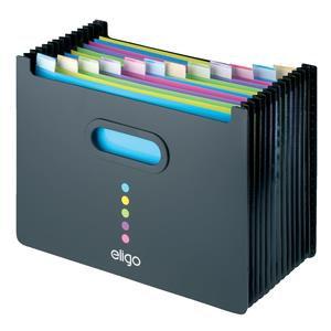 Snopake Eligo 13-Part Expanding Polypropylene Desk Organiser (Black)