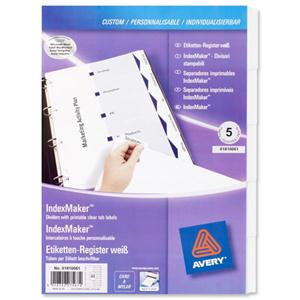 Avery IndexMaker (A4) Punched Dividers 1-5 (White) with Tab Labels