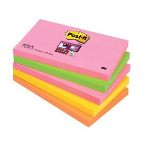 Post-it Super Sticky Note Pads (76x127mm) Neon Rainbow (90 Sheets)