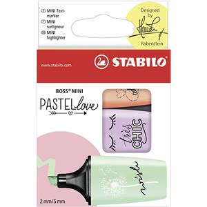 STABILO BOSS MINI Pastellove (2-5mm) Highlighters / Pack of 3