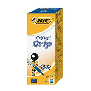 Bic Cristal Grip Clear Barrel Ballpoint Pen 1.0mm Tip 0.4mm Line / Pack of 20