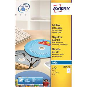 Avery Inkjet Full Face CD Quality 117mm Labels (White)