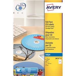 Avery Inkjet Full Face Quick Dry CD 117mm Labels (White)
