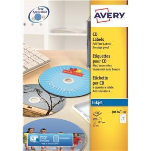 Avery J8676-100 White Full Face CD/DVD Label - Inkjet