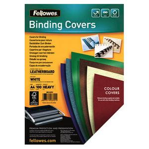 Fellowes (A4) FSC Certified Leathergrain Covers (White)