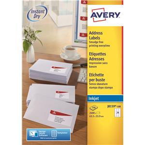 Avery J8159-100 White Inkjet Addressing Labels