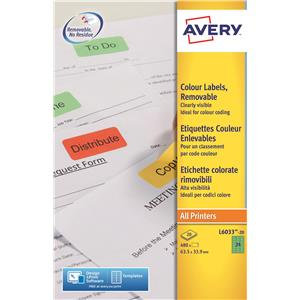 Avery Coloured Labels / Pack of 480