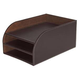 Osco Faux Leather 3 Tier Letter Tray