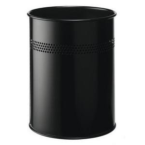 Durable (15 Litre) Metal Round Waste Basket with 30mm Perforation Ring (Black)