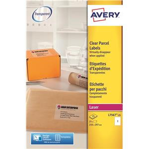 Avery Shipping Laser Labels Clear (Various Sizes and Pack Sizes)