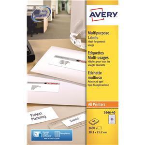 Avery Multi-Purpose Labels (38 x 21.2mm) White