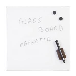 Bi-Office (480 x 480mm) Magnetic Glass Memo Tile Board (White)