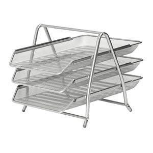 Mesh Front Load 3-Tier Letter Tray (Silver)