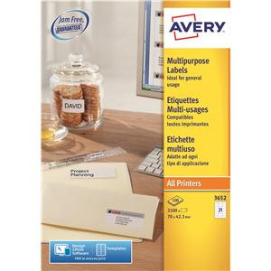 Avery 3666 White Multifunction & Copier Label, 38.1x21.2mm
