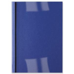 GBC (A4) Thermal Binding Covers 3mm Front PVC Clear Back Leathergrain (Blue)