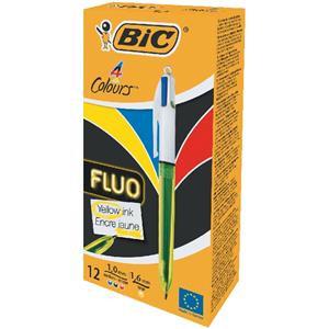 Bic 4 Colours Fluo Ballpoint Pen Medium Black/Blue/Red Large Yellow Ink