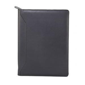 Monolith Stylish Leather Look Zipped Folio (Black)