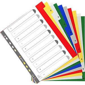 Exacompta (A4+) 10 Part (1-10) PP Ringbinder Divider Tabs (Assorted Colours)