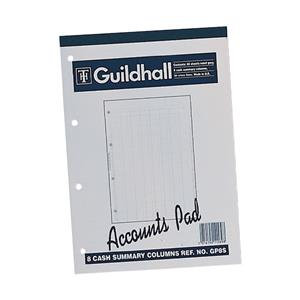 Guildhall A4 Ruled Account Pad with 8 Cash Columns and 60 Pages White