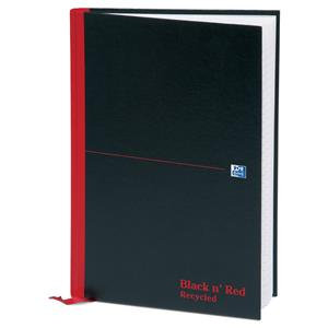 Black n Red A4 Book Casebound Recycled 90gsm 192 Pages