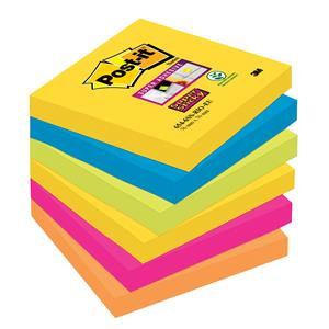 Post-It Super Sticky (76x76mm) Re-positional Note Pad Assorted Colours 90 Sheets